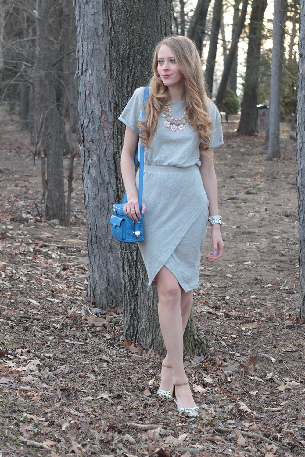 Grey tulip hem dress