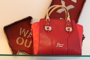 guess red handbag