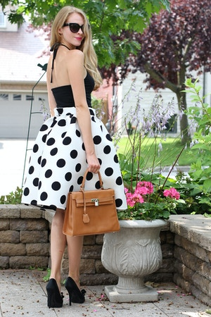 brandy melville halter top and choies polka dot skirt