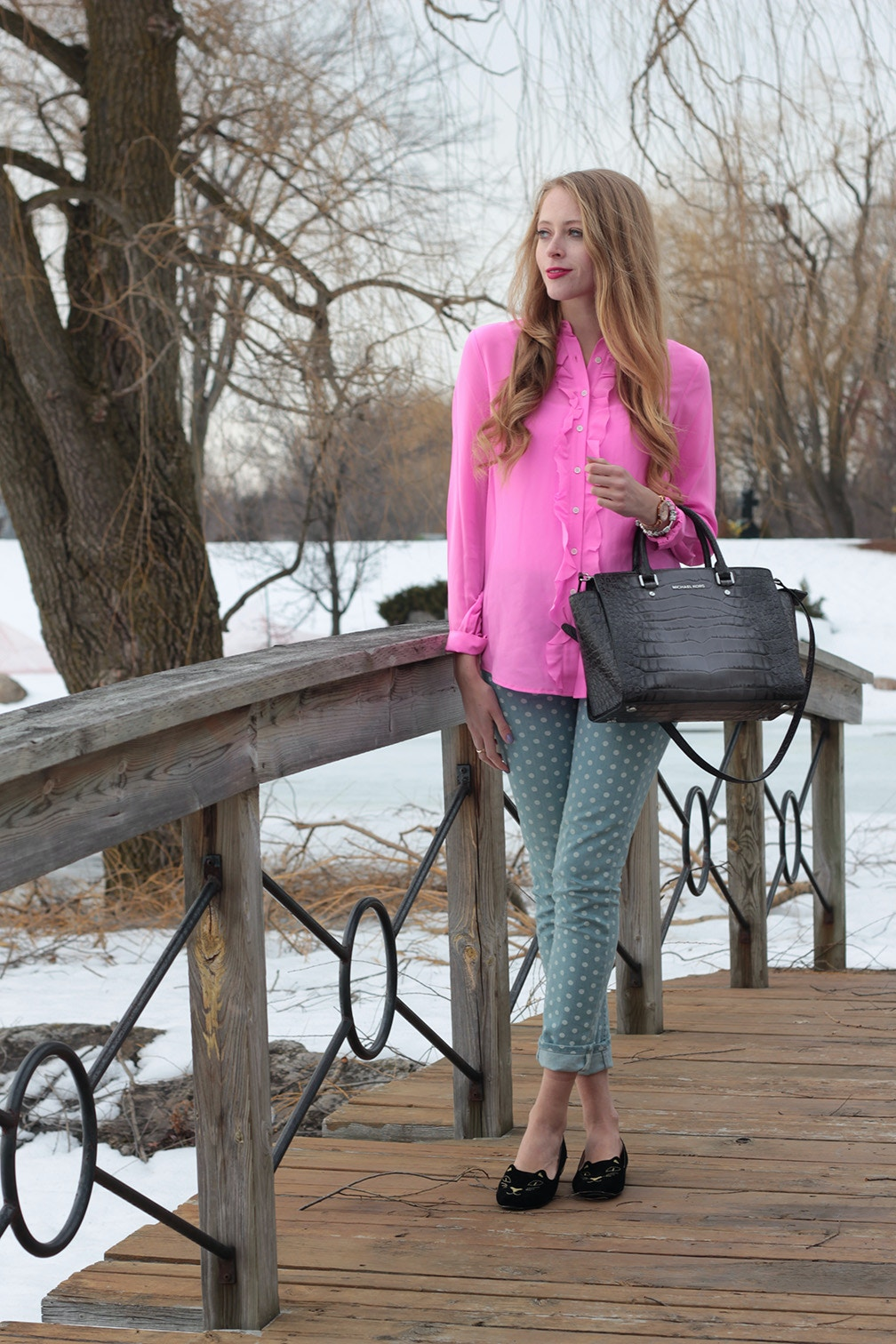 hot pink joe fresh shirt polka-dot jeans