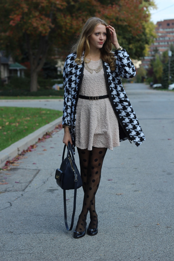 houndstooth and polka dot tights