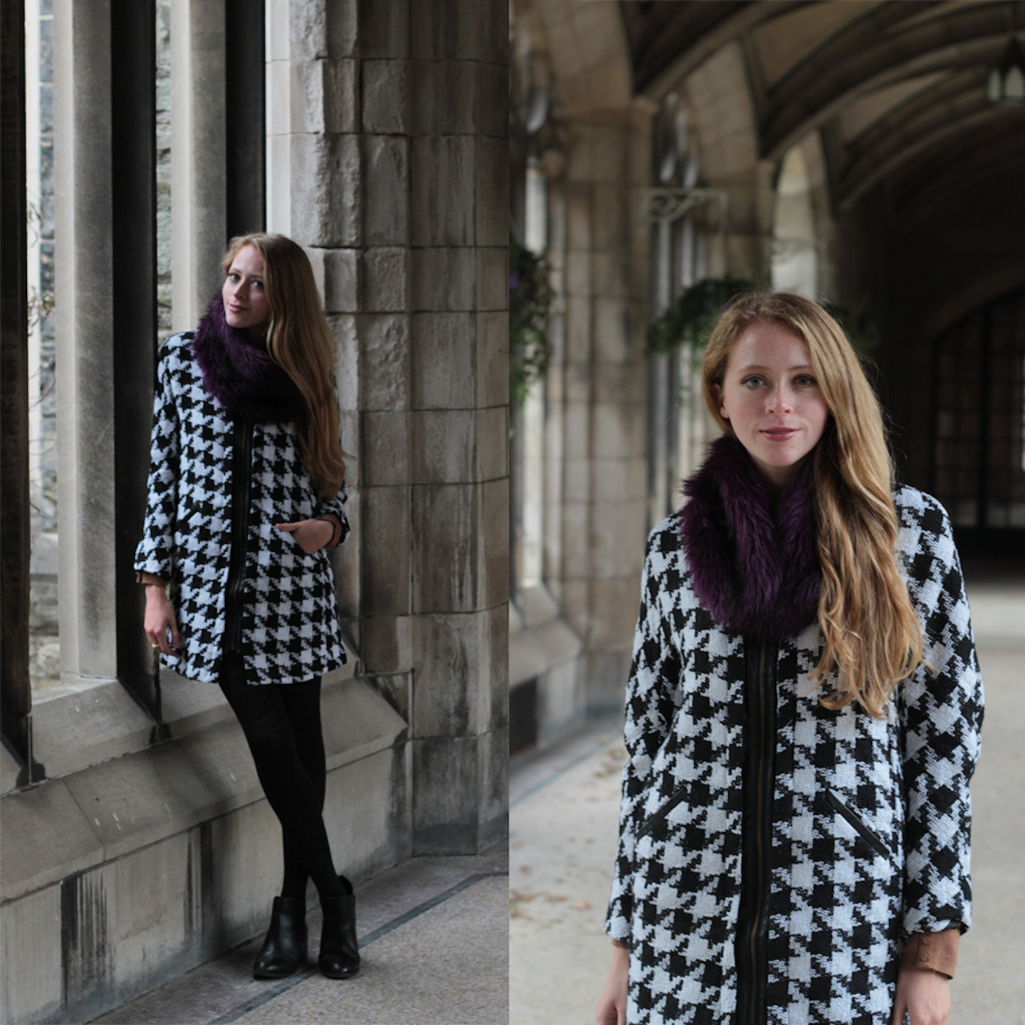 Houndstooth winter coat and purple faux fur stole