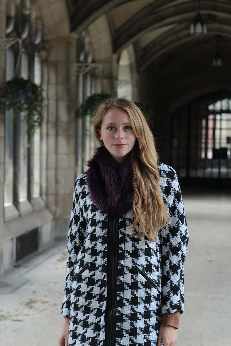 houndstooth coat purple faux fur stole
