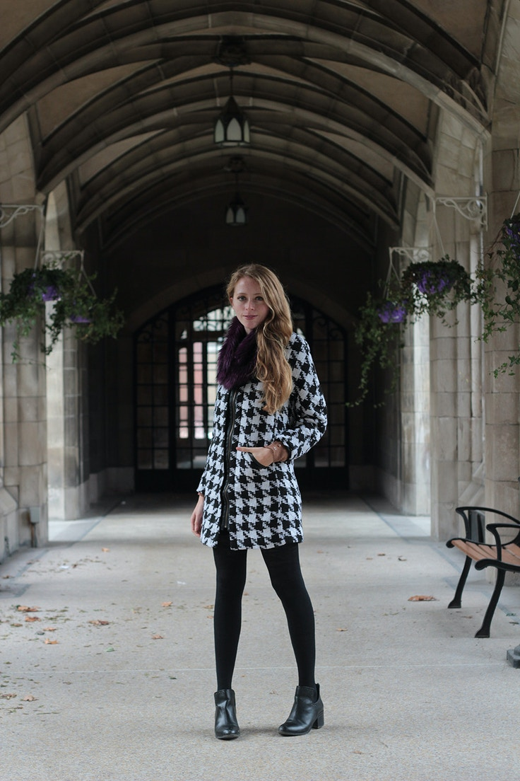 houndstooth winter coat sheinside
