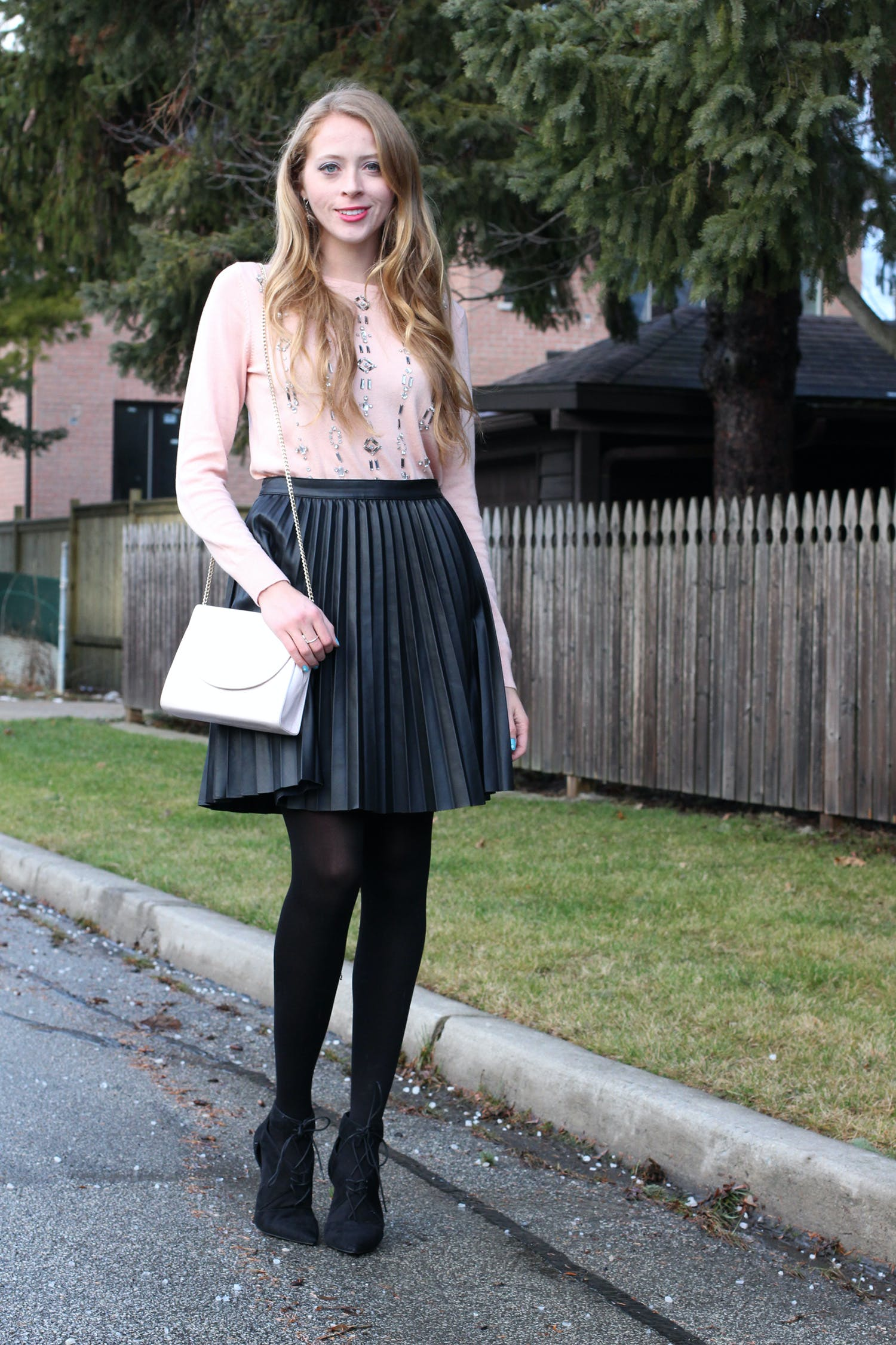 Zara faux leather pleated skirt