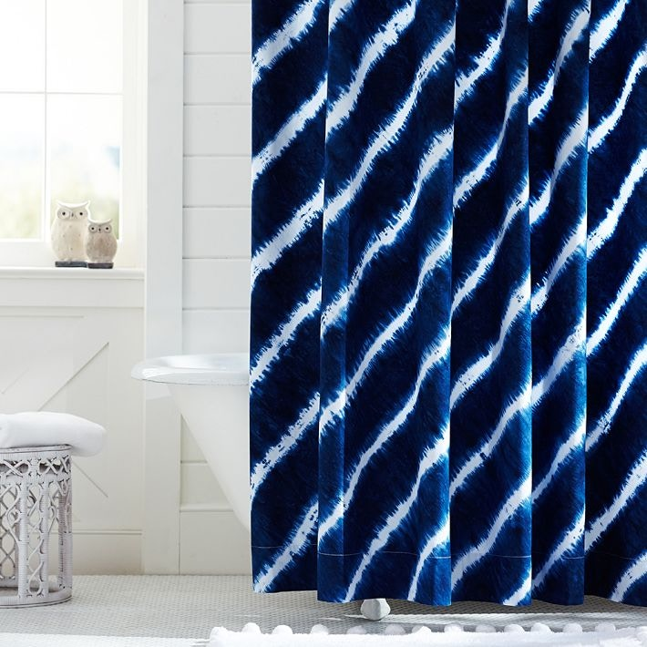 indigo dye shower curtain