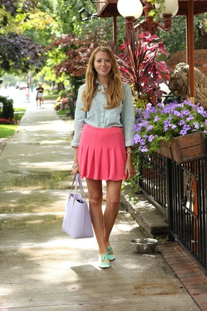 joe fresh denim chambray shirt pink miranda kerr skirt