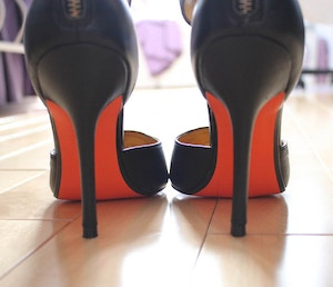 joe fresh orange sole heels