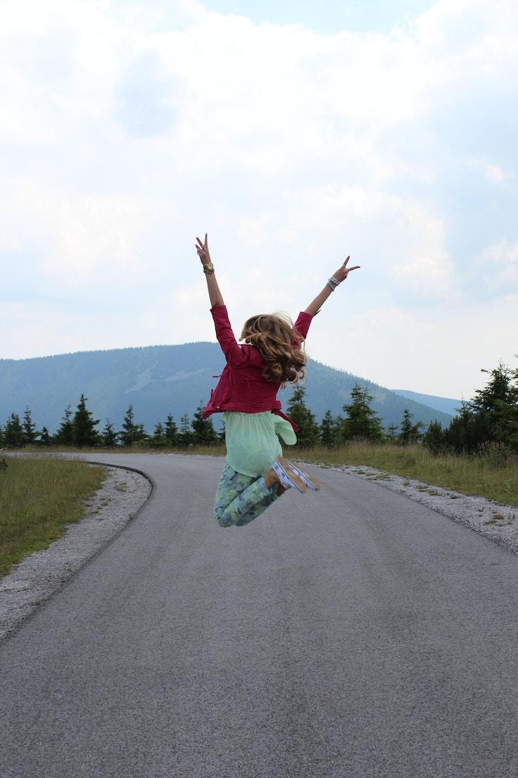 jumping atop krkonose mountains