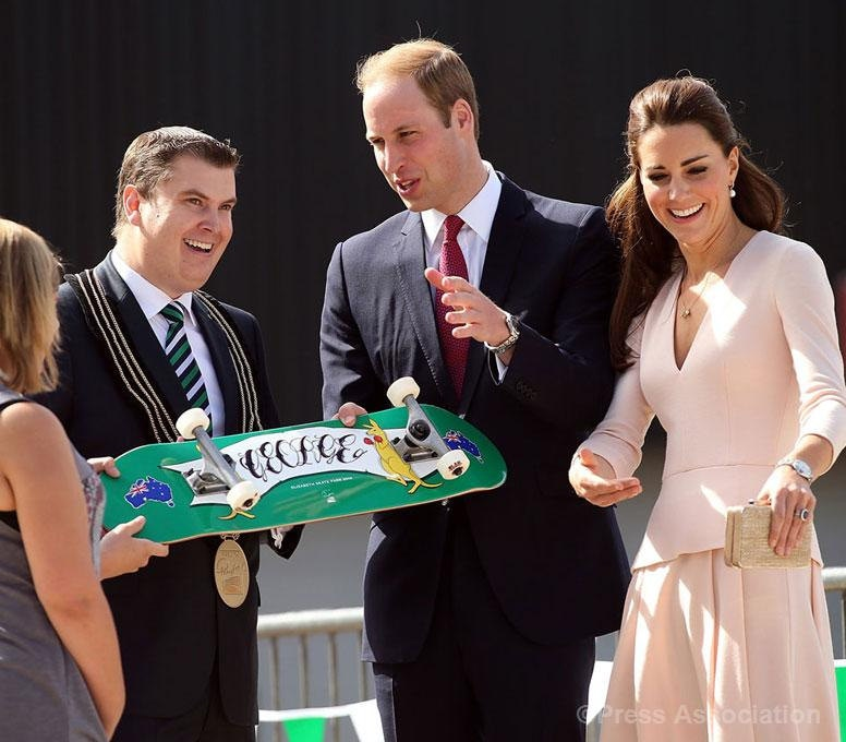 kate middleton skateboard adelaide pink dress alexander mcqueen