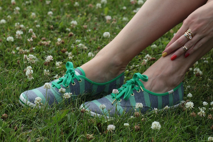 kate spade for keds green striped sneakers fall 2014