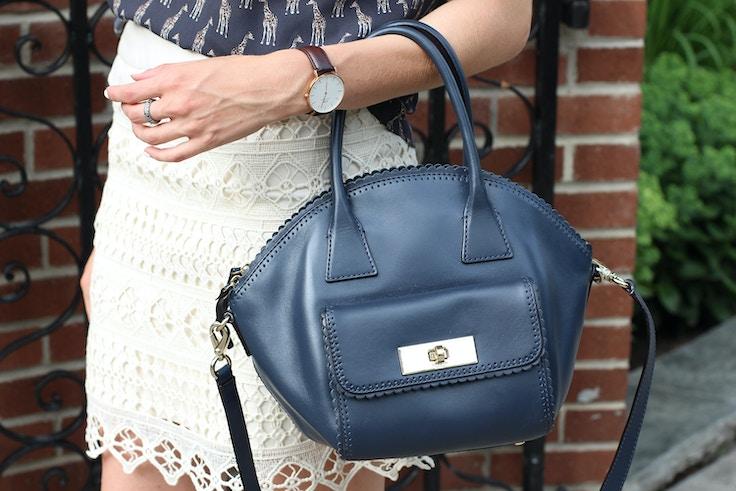 kate spade navy purse daniel wellington watch