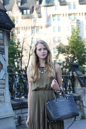 khaki chiffon dress michael kors selma