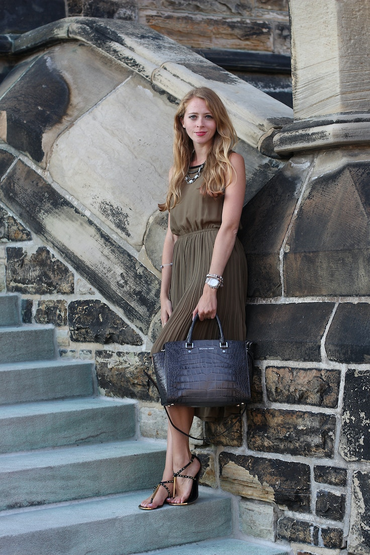 khaki chiffon pleated dress h&m