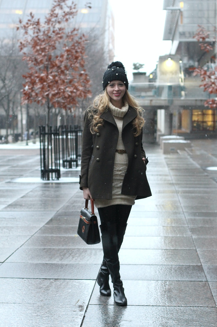khaki coat sweater dress