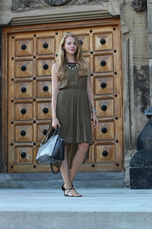 khaki green chiffon dress michael kors selma