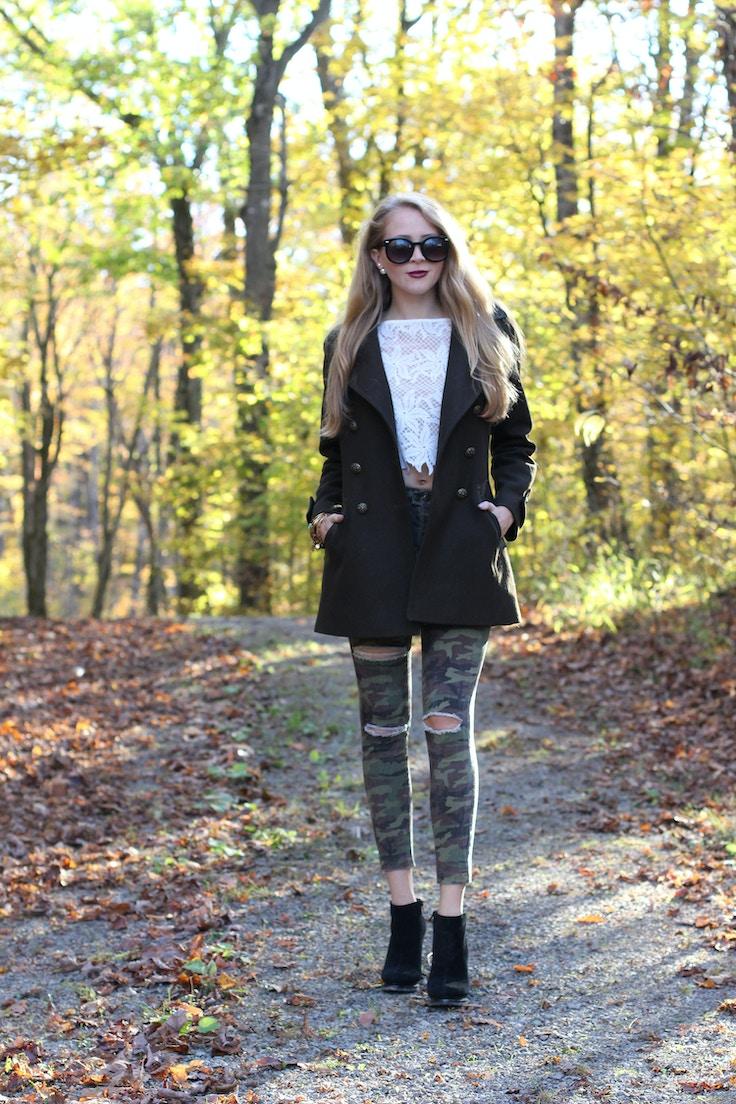 khaki wool coat camo jeans