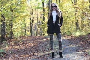 lace crop top camo jeans