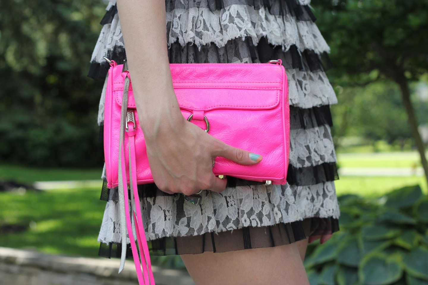 Black & White Lace + Neon Rebecca Minkoff Mini MAC