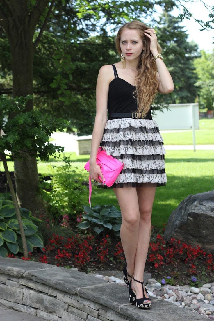 lace dress neon purse