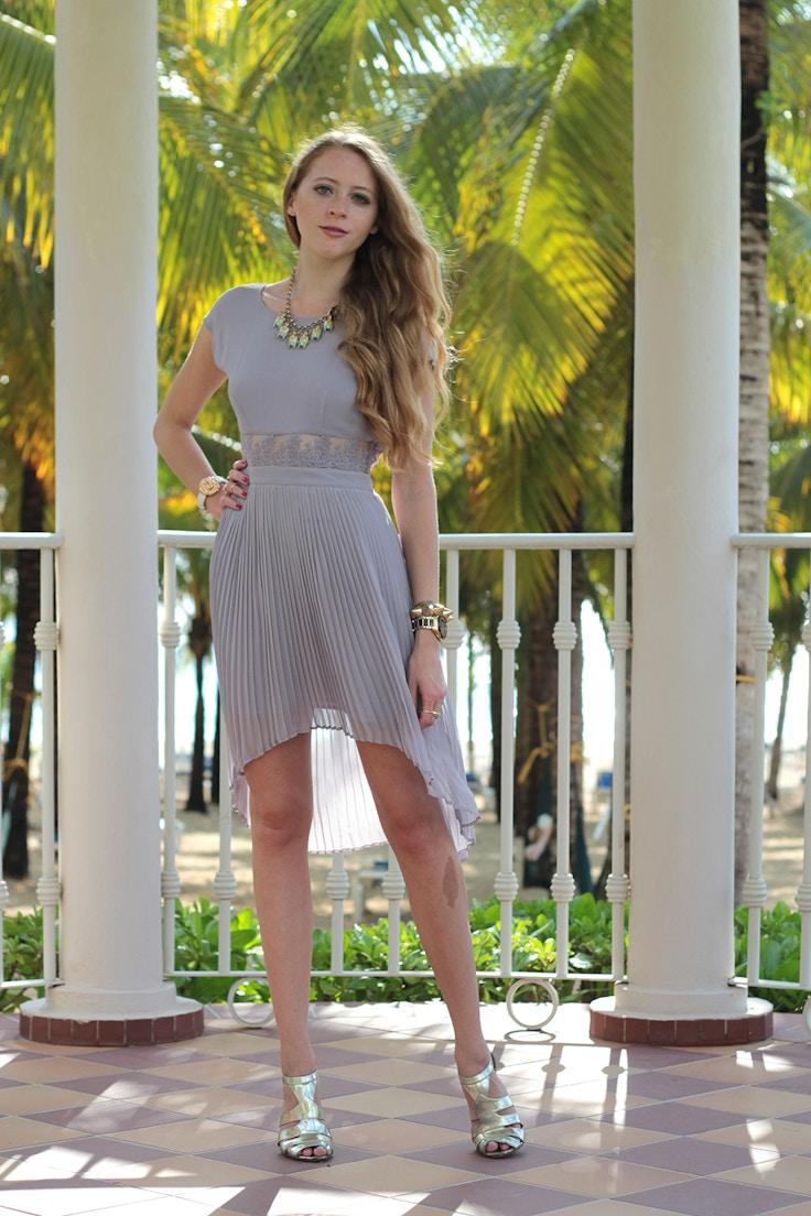 lavender high low dress pleats