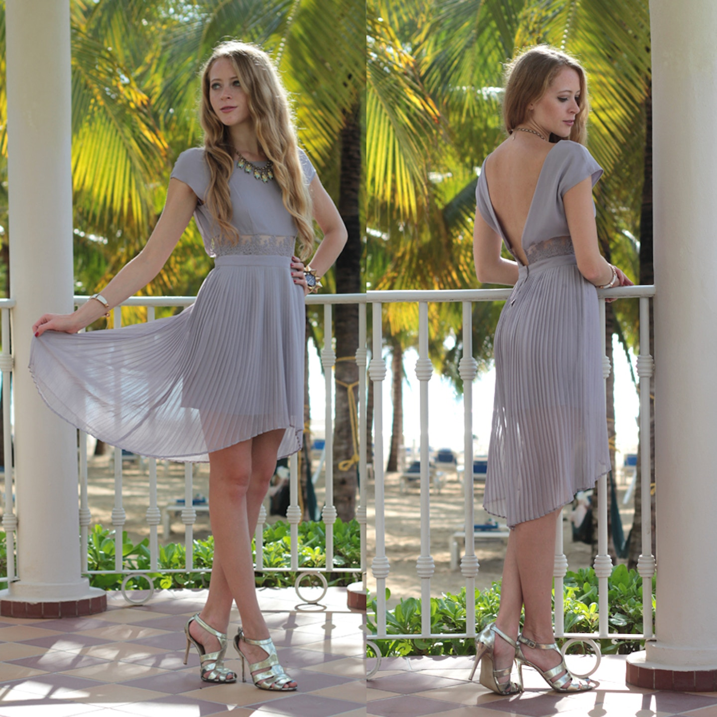 Lavender Pleated Dress in Paradise