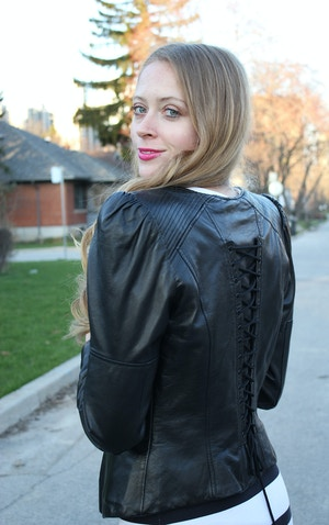 leather motorcycle jacket with corset back