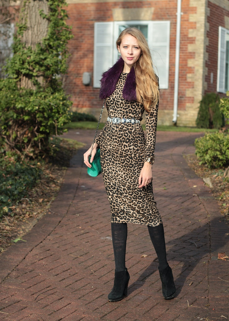 leoapard midi dress