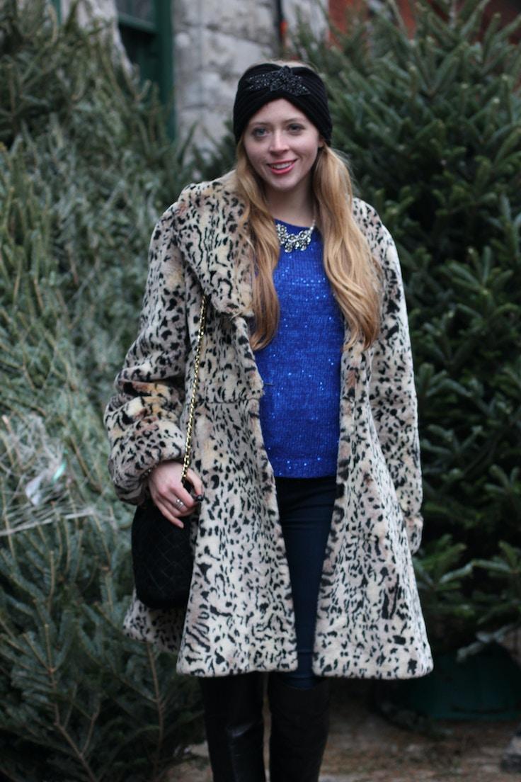 leopard faux fur coat turban headband
