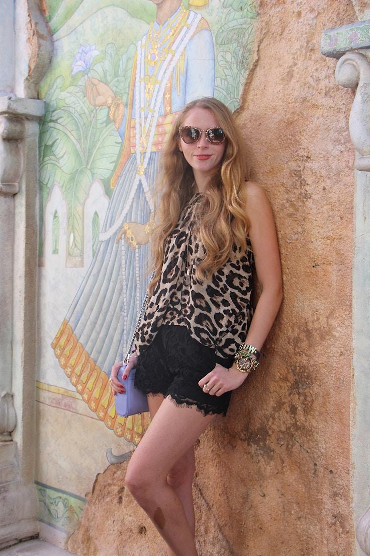 leopard shirt black lace shorts