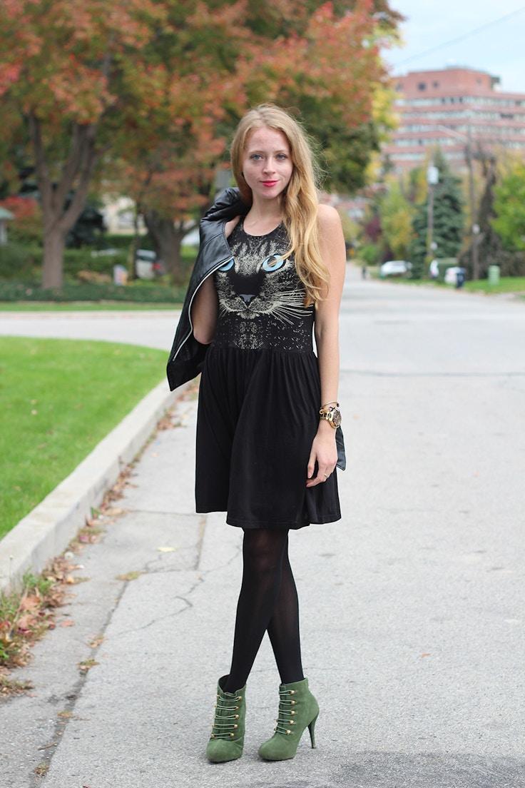 little black cat dress