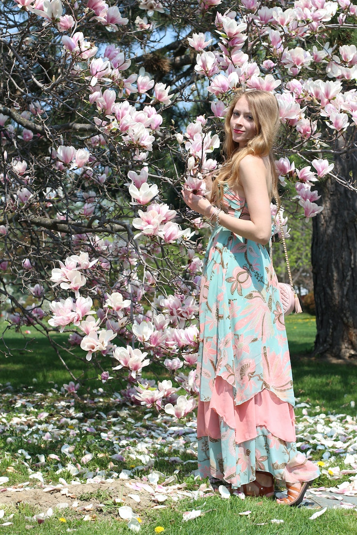 magnolia tree maxi dress spring outfit