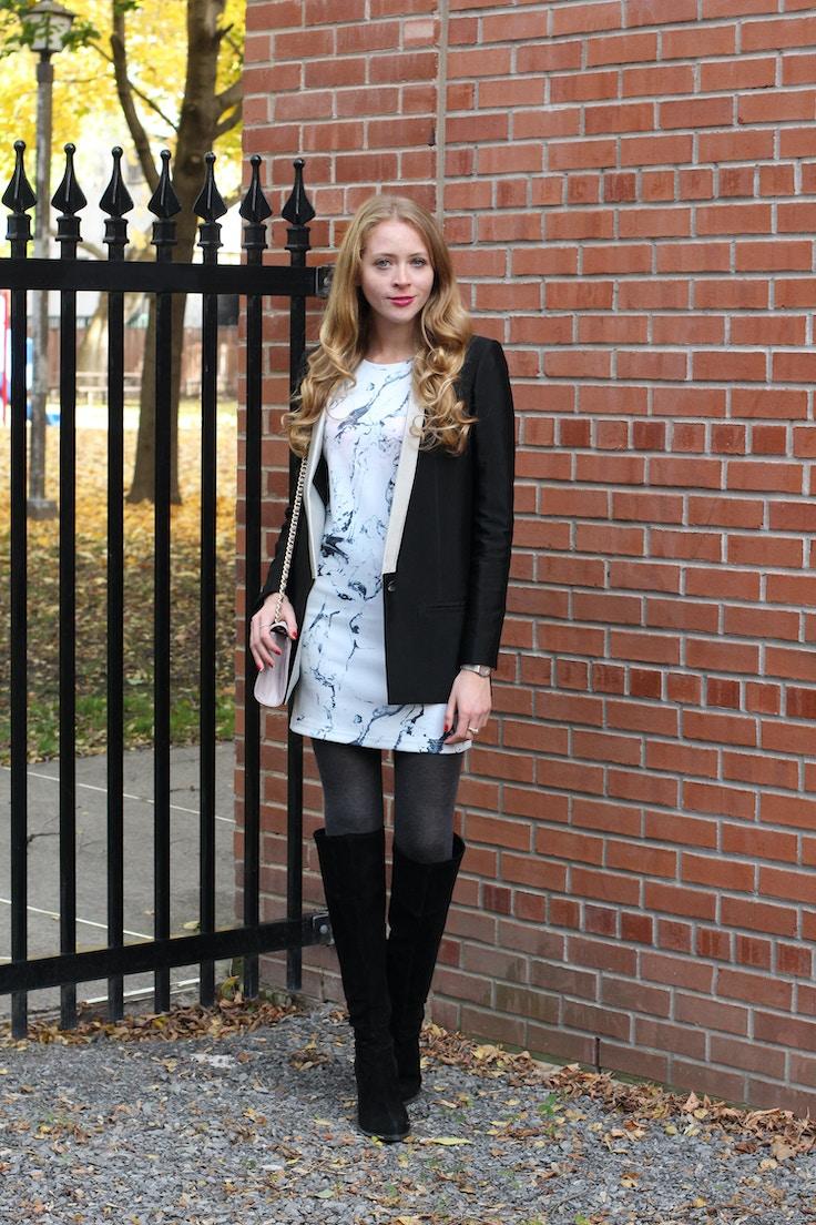 marble print dress helmut lung blazer