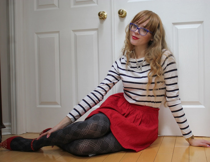 marc by marc jacobs hipster glasses striped shirt girl with bangs