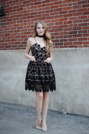 black self-portrait lace dress azaelea midi