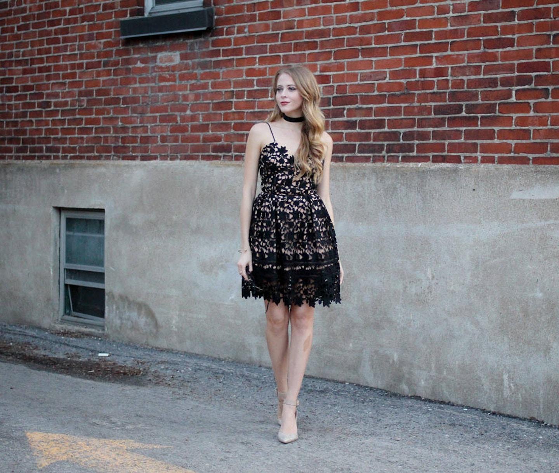 black lace self-portrait dress