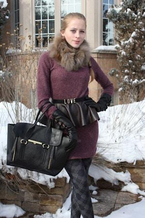 mauve sweater dress and peplum belt