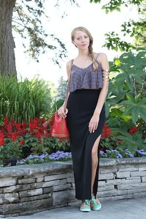 maxi skirt with slit crop top