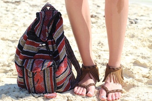 mexican backpack fringe sandals