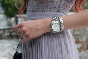 michael kors silver pressly watch purple dress