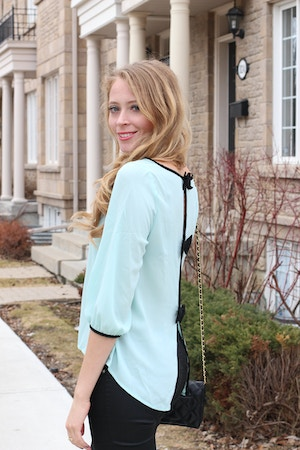 mint and black bow blouse