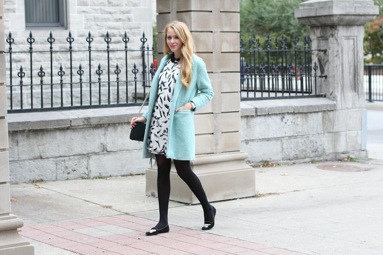 brushstroke print dress mint coat