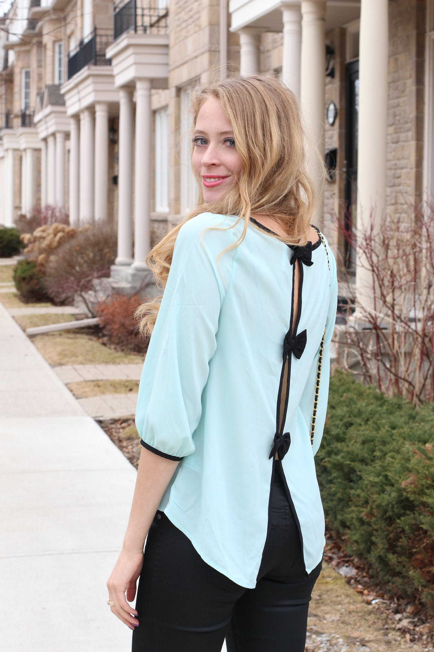 Mint bow blouse