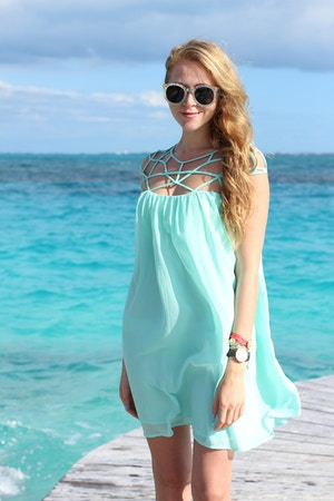 mint cage chiffon dress polette sunglasses