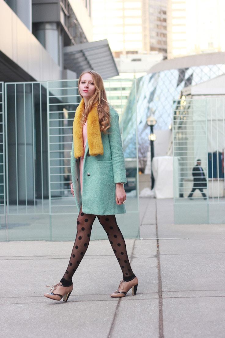 mint coat yellow faux fur scarf