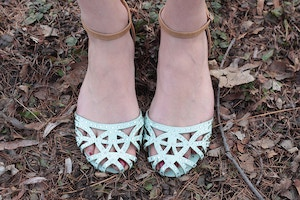 mint cut out shoes