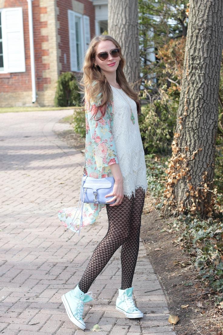 mint floral kimono and lace dress