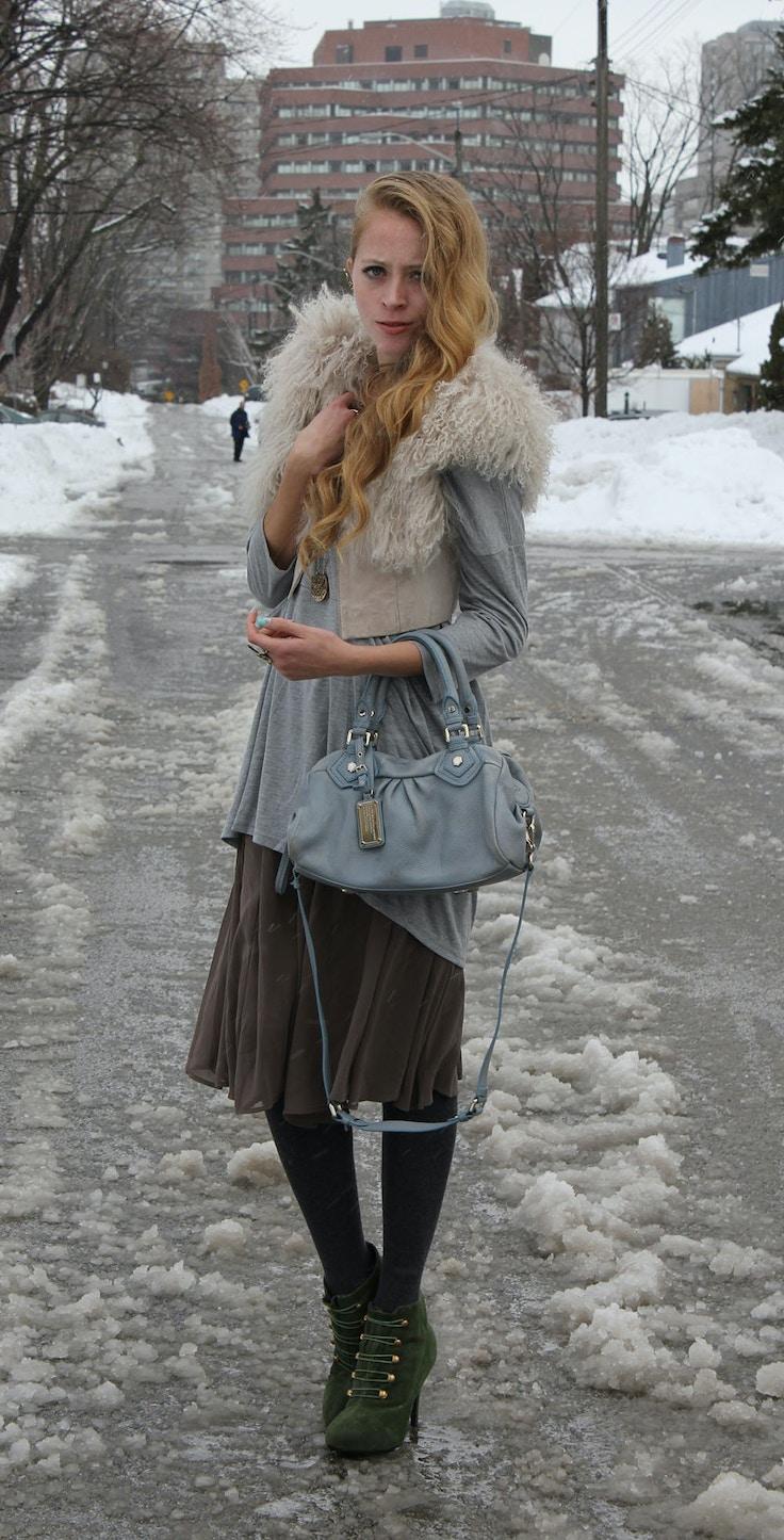 mongolian fur vest and skirt