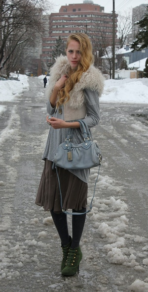mongolian fur vest and skirt