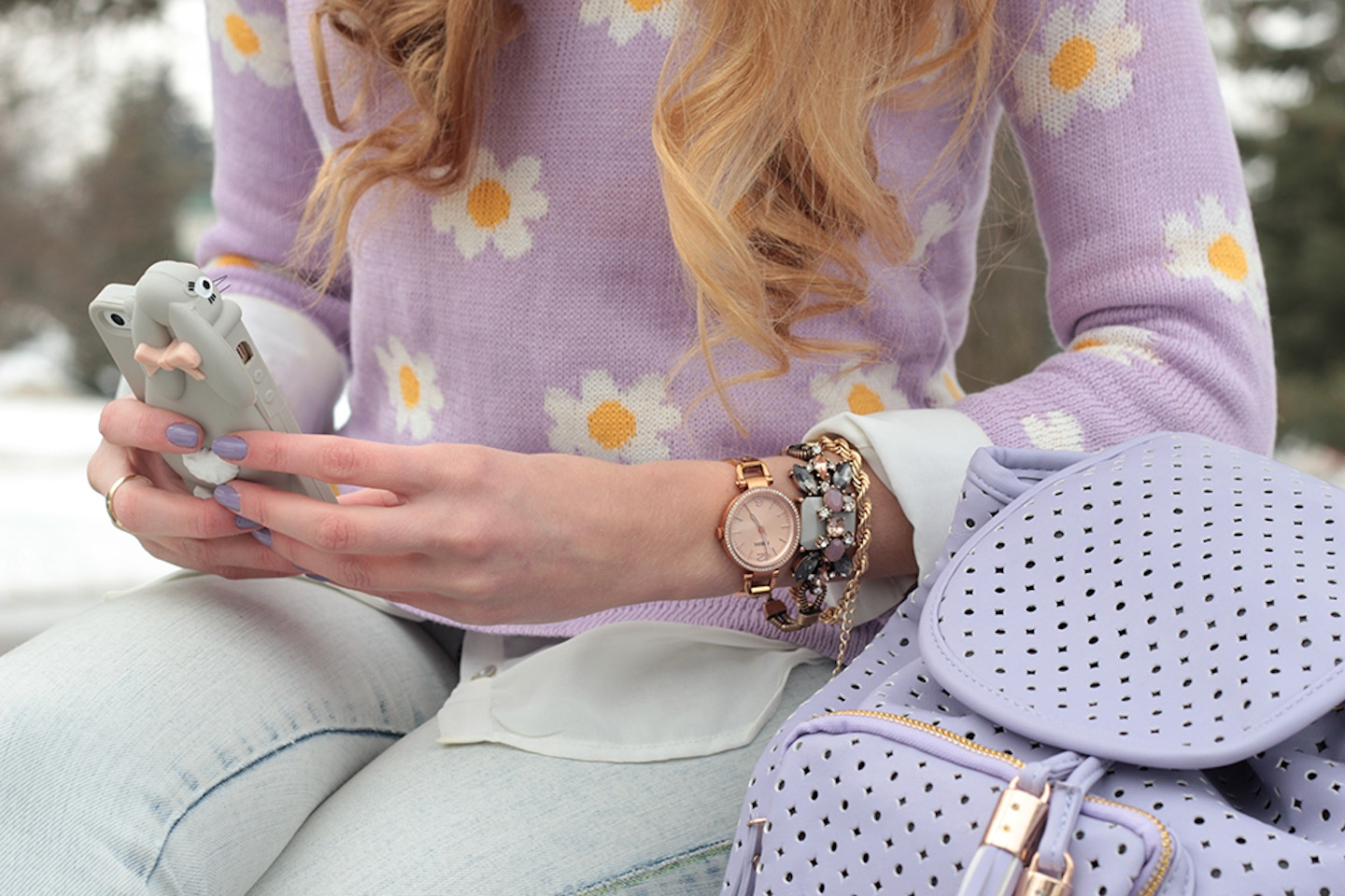 Daisy Print, Bunnies and Backpacks